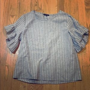 grey and white striped shirt with ruffle sleeves